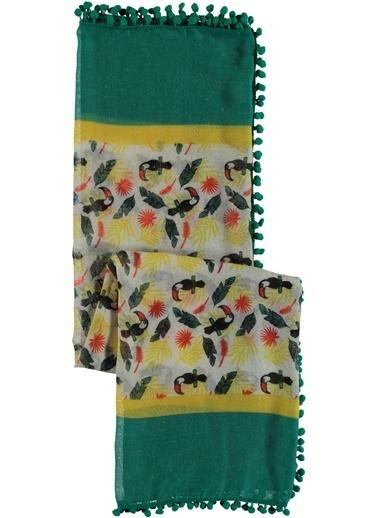 Loves You Ponponlu Papağan Figürlü Şal Yeşil
